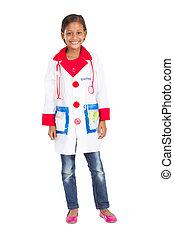 peu, médecins, girl, uniforme