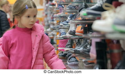 peu, magasin, chaussure, girl