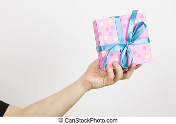 peu, mains, tenue, profondeur, haut, peu profond, mâle, box., gift., coup, fin, sélectif, man., cadeau, champ, foyer, petit