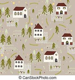 peu, maison, église, arbres, n, vecteur, village, modèle