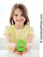 peu, maison, papier, vert, tenue, girl