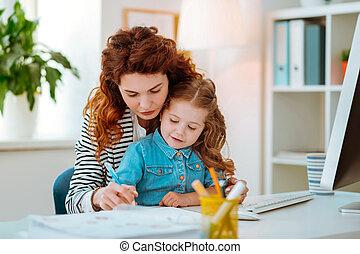 peu, maman, elle, roux, écriture, portion, stylo, tenue, girl