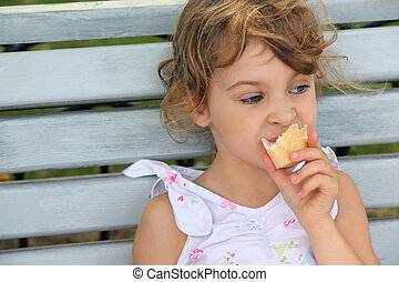 peu, mange, banc, glace, girl, assied