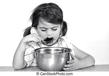peu, mange, girl, chocolat, crème