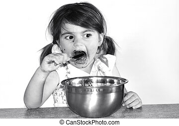 peu, mange, girl, lotissements, chocolat, crème