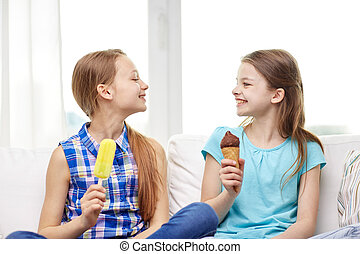 peu, manger, filles, maison, glace, heureux