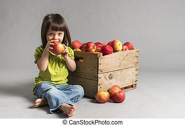 peu, manger, girl, pomme