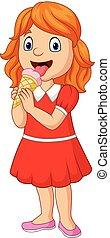 peu, manger, glace, girl, dessin animé, crème