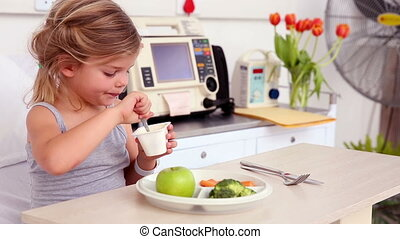 peu, manger, lit hôpital, déjeuner, girl, mensonge