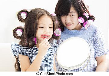 peu, maquillage, jouer, girl, mères