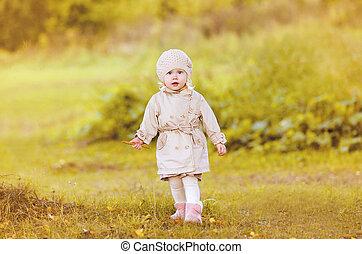 peu, marche, automne, enfant, girl, jour