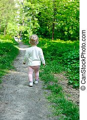peu, marche, forêt, girl