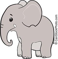 peu, mignon, éléphant