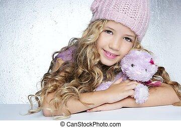 peu, mode, hiver, teddy, casquette, ours, étreinte, fille...
