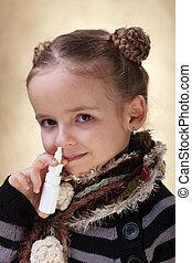 peu, nasale, -, grippe, combat, pulvérisation, girl