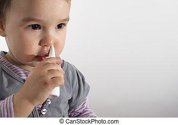 peu, nasale, -, pulvérisation, fond, utilisation, girl, blanc