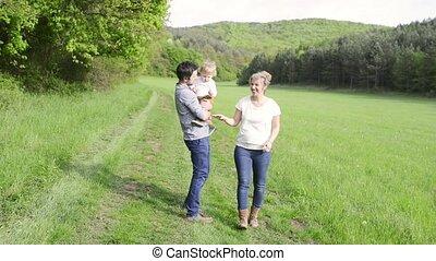 peu, nature., fils, leur, parents, tenue, promenade