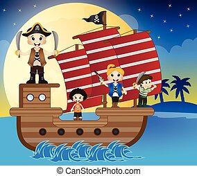 peu, nautisme, pirates, illustration
