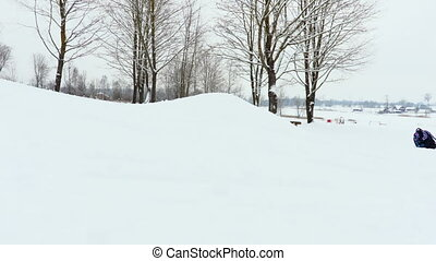 peu, neige, bas ski colline, girl