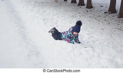 peu, neige, girl, jouer