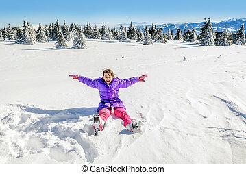 peu, neige, tomber, amusement, girl, avoir