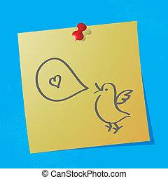 peu, oiseau, à, bulle discours, message