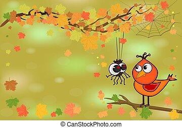 peu, oiseau, branch., araignés, arbre, mignon