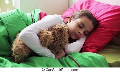 peu, ours peluche, dormir, maison, girl