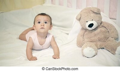 peu, ours peluche, suivant, bébé, mensonge