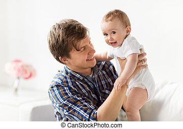 peu, père, jeune, bébé, maison, heureux