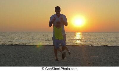 peu, père, jeune, fils, amusement, plage, avoir