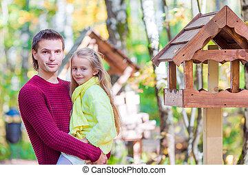 peu, père, parc, automne, dehors, girl, adorable