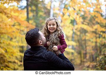 peu, père, parc, automne, dehors, girl, adorable, heureux