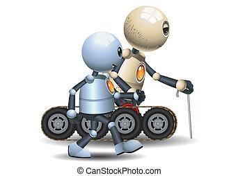peu, père, robot, marche, il, grandiose
