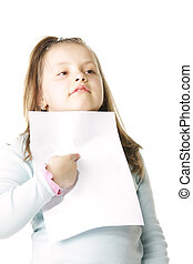 peu, papier, girl, vide