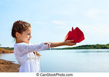 peu, papier, rouges, tenue, girl, adorable, bateau