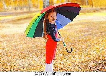 peu, parapluie, coloré, ensoleillé, automne, enfant, girl, jour, heureux