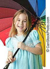 peu, parapluie, girl