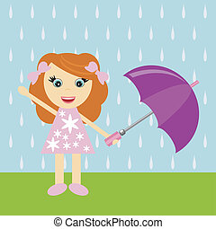 peu, parapluie, girl, gentil