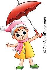 peu, parapluie, girl, heureux