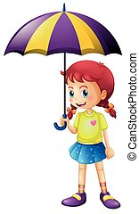 peu, parapluie, girl, tenue