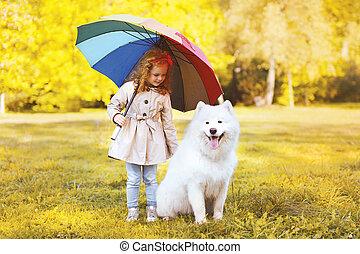 peu, parapluie, parc, chien marche, girl, heureux