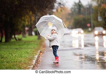 peu, parapluie, pluvieux, day., sous, girl, dehors, ...