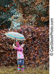 peu, parapluie, saison, parc, automne, girl, heureux