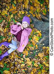 peu, parc, automne, dehors, girl, heureux