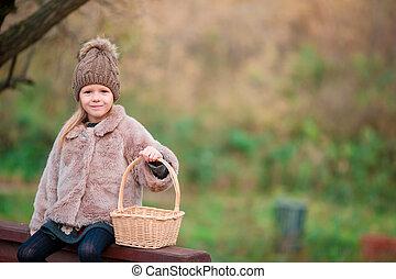 peu, parc, automne, dehors, panier, girl, adorable