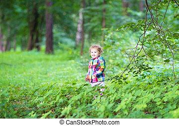 peu, parc, automne, girl, adorable, jouer