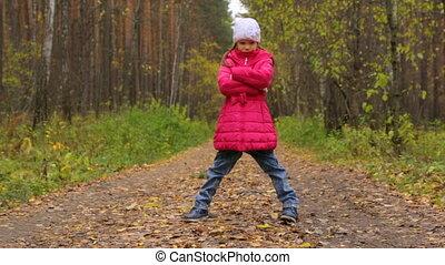 peu, parc, automne, girl