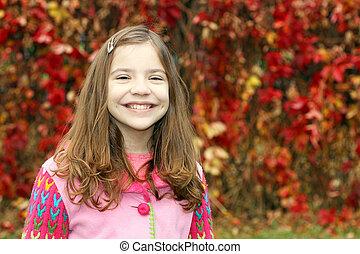 peu, parc, automne, portrait, girl, heureux