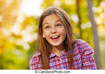 peu, parc, automne, rire, portrait, girl